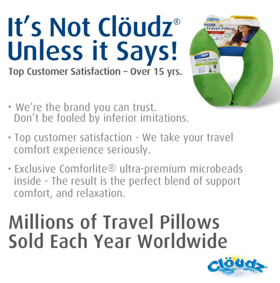 Cloudz Microbead Travel Neck Pillow - The Original