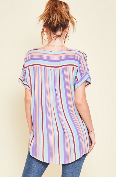 Colorful Striped Top with Hi-Lo Hem