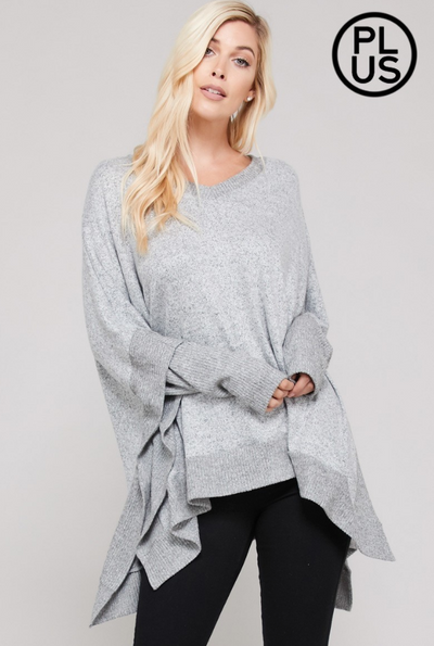 Cashmere Poncho Silhouette Knit Top