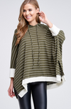 Quarter Length Sleeve Striped Poncho with Hi-Lo Hemline