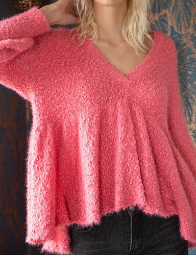 Babydoll Asymmetrical Hem Sweater