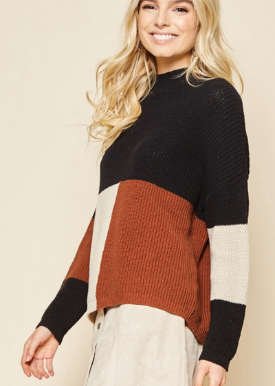 Color Block Sweater with Banded Sleeves