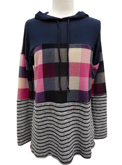 Mixed Print Color Block Hoodie