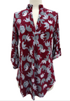Elephant Print Roll Up Sleeve Tunic Top