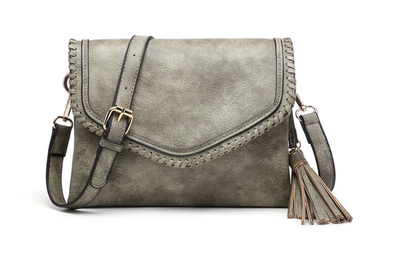 Whipstitch Trim Envelope Crossbody/Clutch