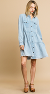 Button Front Tiered Ruffle Dress with Frayed Hem