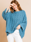 Cuffed Long Sleeve Chenille Cable Knit Pullover Sweater