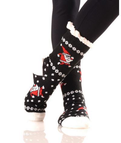 Adult Christmas Faux Sherpa Lined Slipper Socks