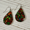Christmas Glitter Tear Drop Hand Crafted Earrings