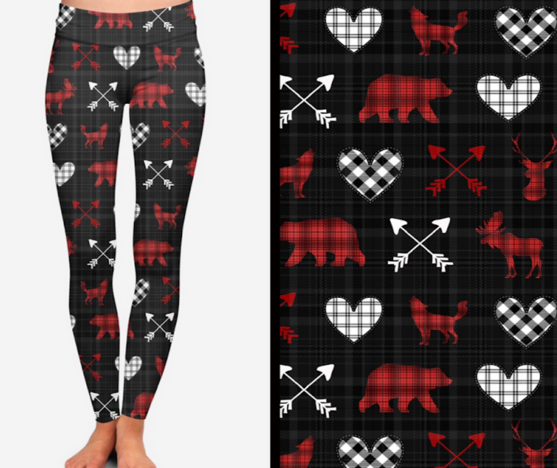 Winter Plaid Animals Printed Leggings