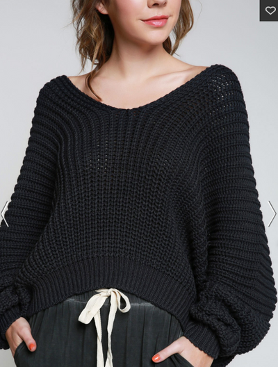 Wide Neck Draped Shoulder Knit Sweater