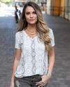 Grace and Lace Snakeskin Perfect V Neck Tee