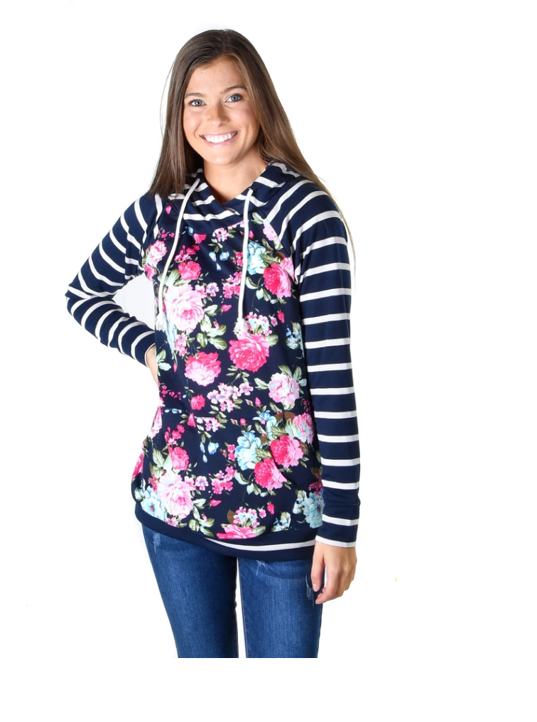 Navy Floral and Striped Sleeve Hoodie