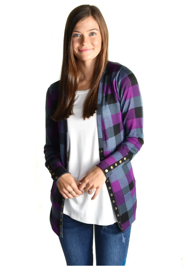 Plum Check Snap Cardigan
