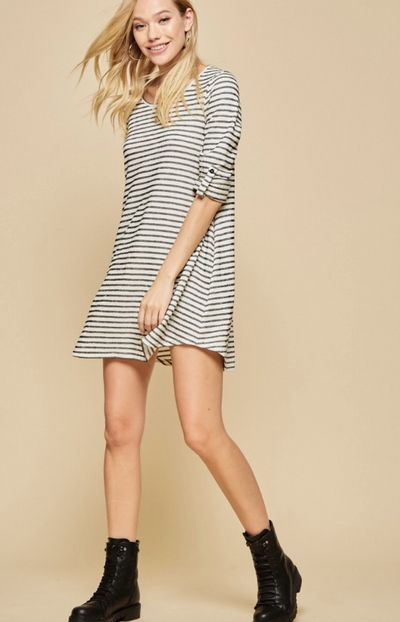Stripe Knit Rolled up Sleeves Dress with Pockets
