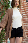 Cable Knit Slouch Cardigan with Wide Sleeves