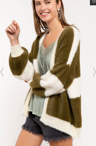 Mohair Furry Striped Cardigan
