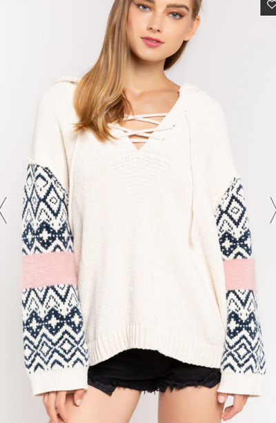 Navy and Cream Chenille Aztec Sleeve Sweater