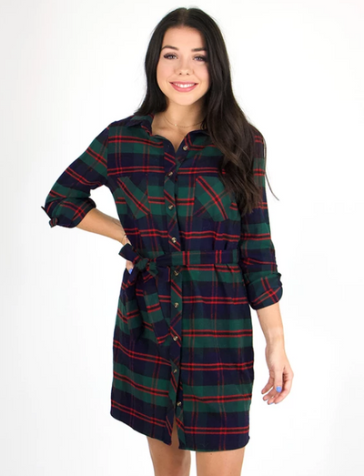 Grace and Lace Stretch Flex Flannel 3 Way Plaid Dress