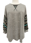 Aztec Contrast Stitch Detail Tunic Top