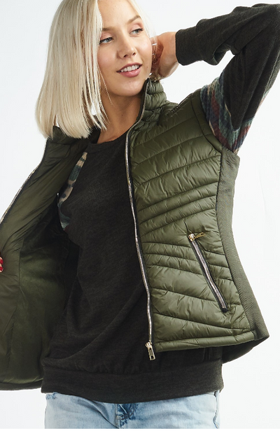 Puffer Vest with Silver Zipper Detail