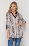 Snake Print Deep V Blouse Top