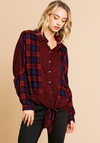 Plaid and Checkered Mixed Print Long Sleeve Button Front Collared Top