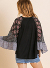 Sheer Floral and Scarf Mixed Print Waffle Knit Top