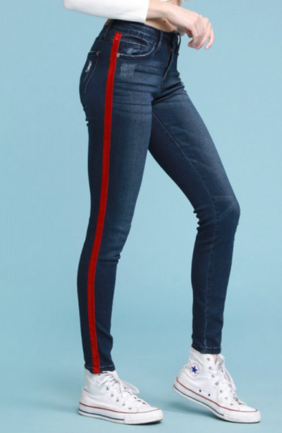 Judy Blue Red Velvet Tape Distressed Skinny Jeans