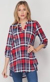 Plaid Rolled Sleeve Tunic Top
