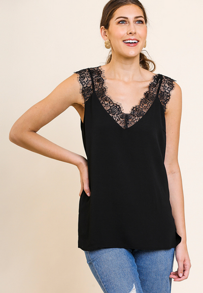 Sleeveless V-Neck Floral Lace Cami Top