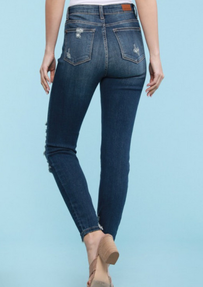 Judy Blue High Rise Crop Skinny Shredded Hem Jeans