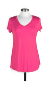 Bright Pink Short Sleeve V-Neck Tee