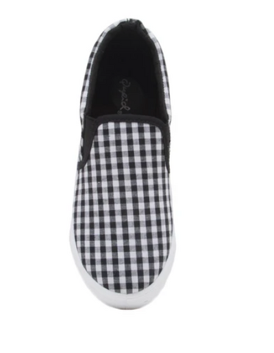 Reba Black and White Gingham Slip On Shoes