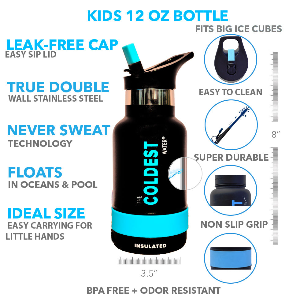 The Coldest Water 12oz Super Insulated Sports Bottle for Kids