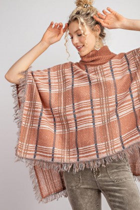 Plaid Turtle Neck Poncho