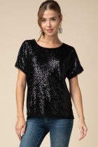 Sequin Scoop Neck Top