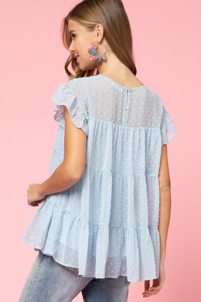 Dotted Swiss Tiered Smock Top