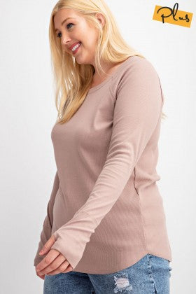 Rib Knit Tunic Top with Thumbholes