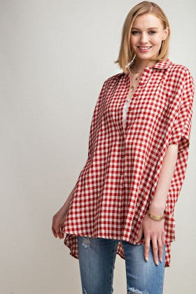 Plaid Button Down Oversized Shirt