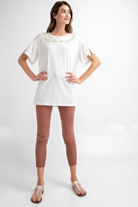 Femme Embroidered Novelty Knit Tunic Top