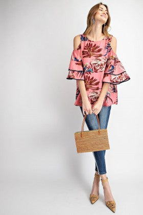 Tropical Cold Shoulder Bell Sleeve Tunic Blouse