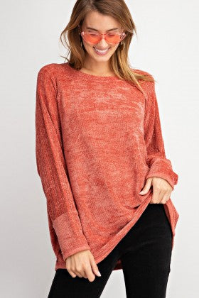 Velvet Cutout Sleeve Sweater
