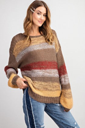 Nothin But Ease Multi Color Stripe Sweater