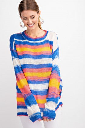 Burst Into Colors Sweater Knit Top
