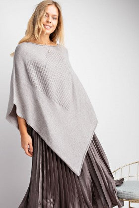 Textured Heart Shape Asymmetrical Sweater Poncho