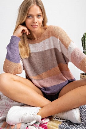 Colorblock Lightweight Sweater Knit Top