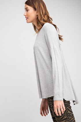 Long Sleeve Viscose Crepe Knit Loose Fit Top