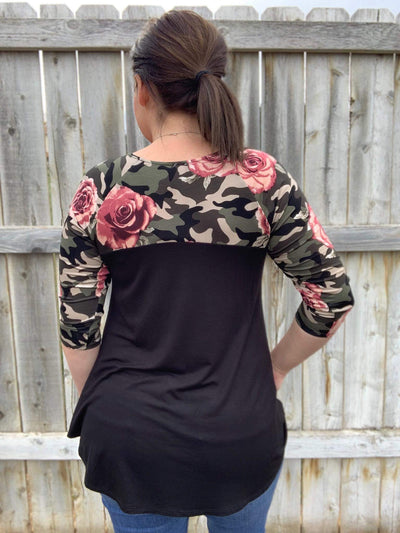 Camo and Rose Detail Sleeve Tunic Top