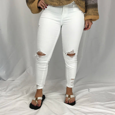 Cello Mid Rise Open Knee White Wash Crop Skinny Jean